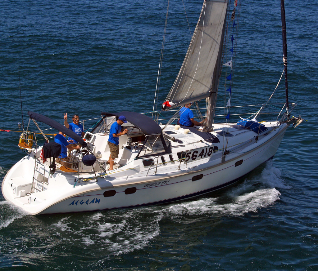 The Aegean with crew members at the start of a 125-mile Newport Beach, CA to Ensenada, Mexico yacht race on Friday, April 27, 2012.