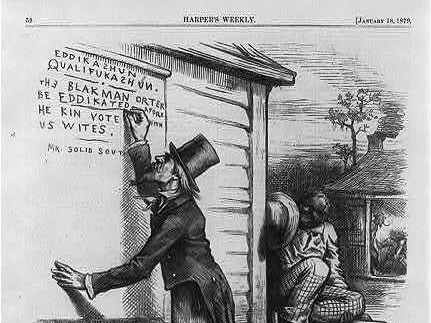 This editorial cartoon from a January 1879 edition of Harper's Weekly pokes fun at the use of literacy tests for blacks as voting qualifications.
