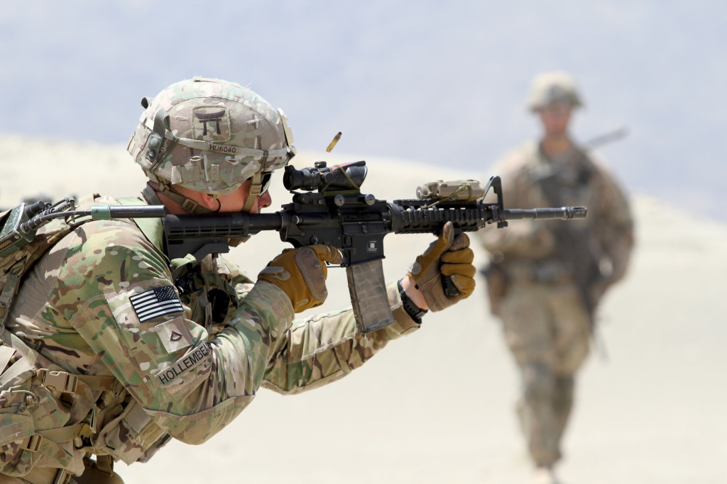 Over the next two years, researchers will evaluate whether there is evidence linking recent veterans' military service with poor health outcomes in their descendants. Here, a U.S. Army Soldier fires an M4 carbine rifle during training at Tactical Base Gamberi, Afghanistan in May 2015.