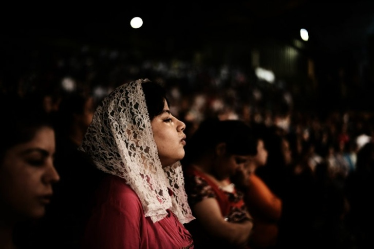 Worshippers attend a service as Coptic p