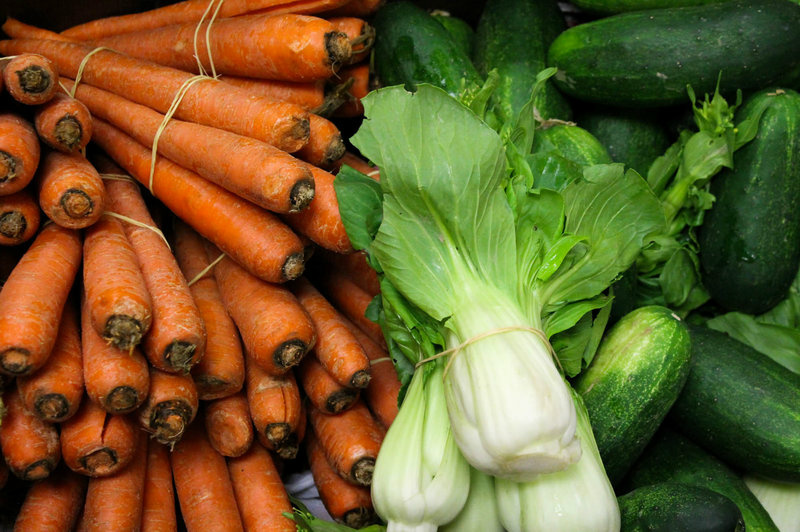 Carrots, bok choy and cucumbers produced by Asian farmers in California that work with the Asian Pacific Islander Forward Movement. The nonprofit helps small farms grow their business through workshops, counseling and produce distribution.