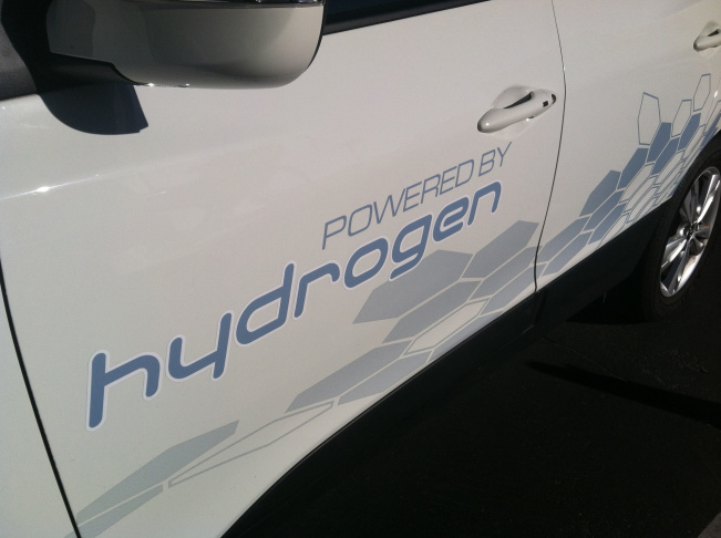 Front view of Hyundai's hydrogen fuel-cell powered Tucson SUV.