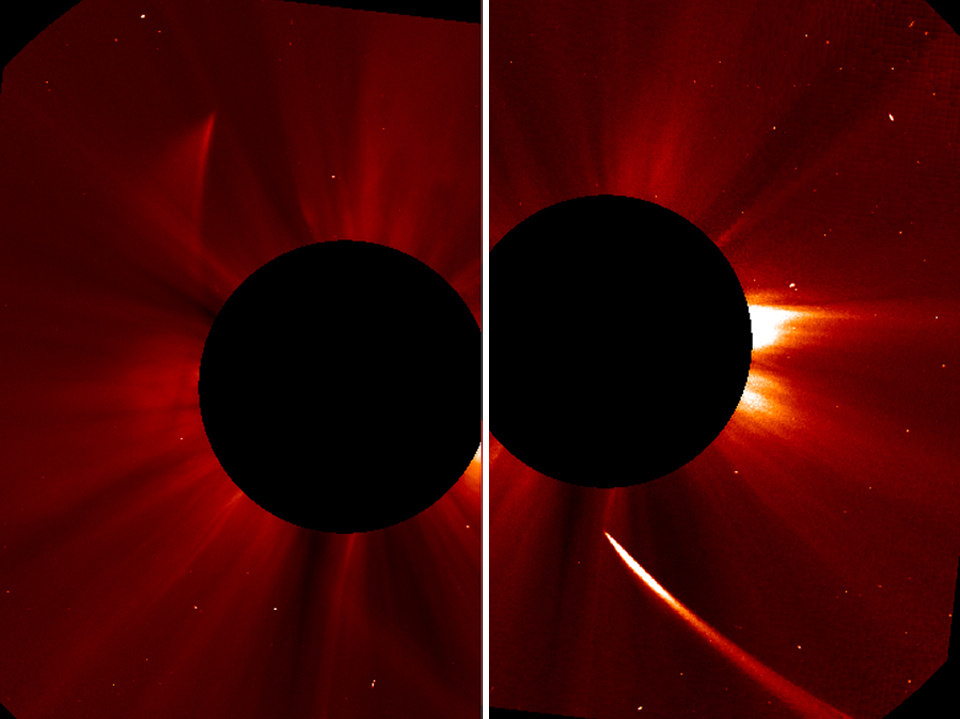 A view from NASA shows the Comet ISON streaming toward the sun (right) then emerging from the other side, dimmed.