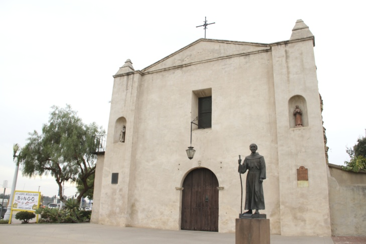 View of the front entrance of the San Gabriel Mission.