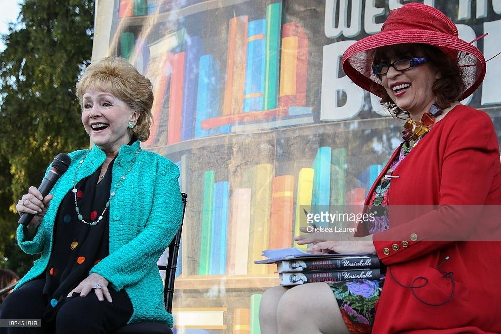 (L-R) Actor Debbie Reynolds and journalist Patt Morrison.
