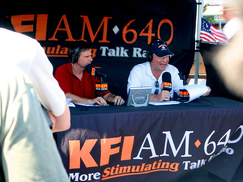 Ken Champiou (left) and John Kobylt (right), of the John & Ken Show fame, do the 3:00 pm to 7:00 pm drive-home broadcast on KFI 640 AM radio in Los Angeles, California.