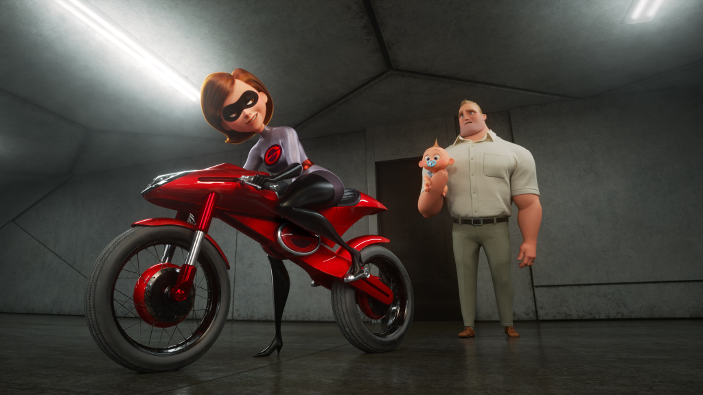Don't Wait Up: Elastigirl (voiced by Holly Hunter) prepares to do some derring-do, leaving Mr. Incredible (voiced by Craig T. Nelson) to his stay-at-home-superdad duties, in <em>The Incredibles 2.</em>