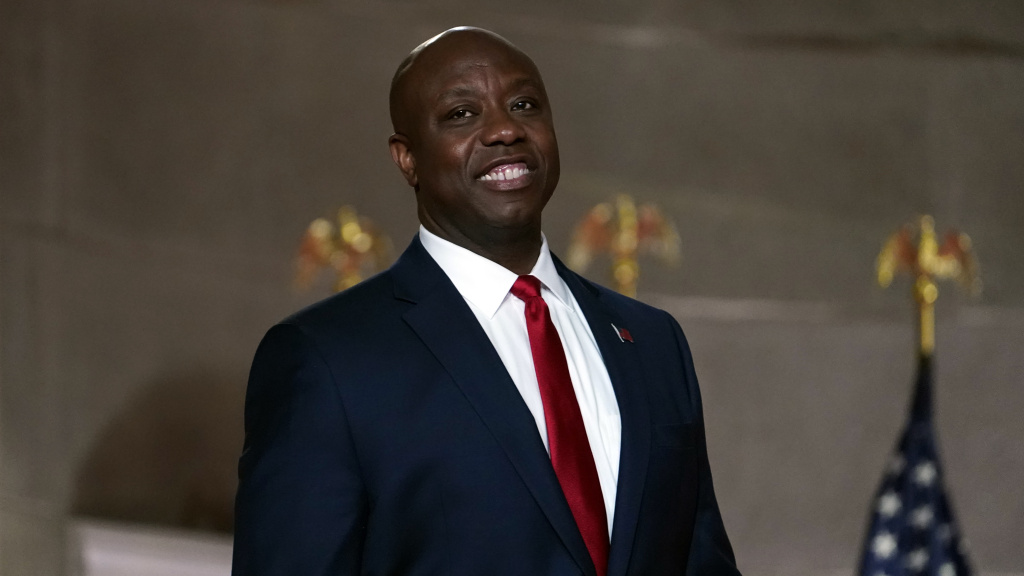 Sen. Tim Scott, R-S.C., pictured at the Republican National Convention on Aug. 24, 2020, is giving the Republican response to President Biden's address to Congress on Wednesday.