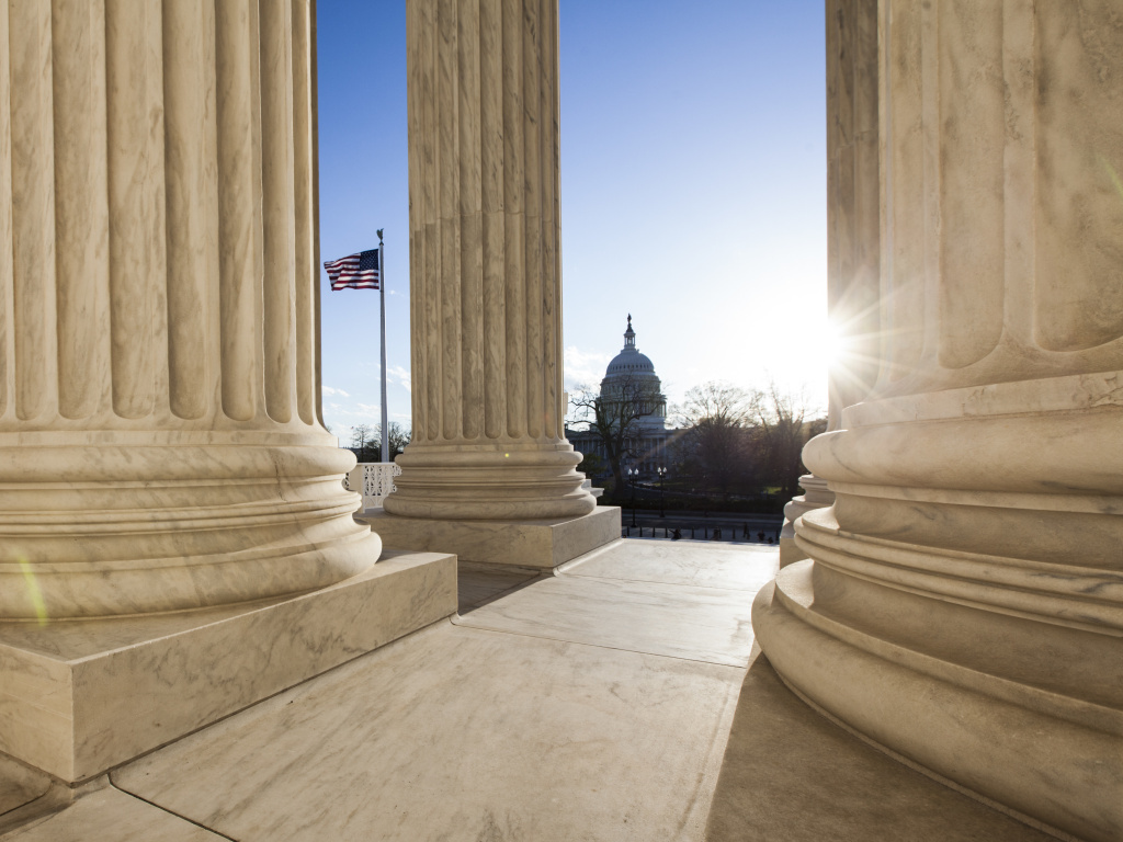 The U.S. Capitol as seen from the Supreme Court Building in Washington, D.C.