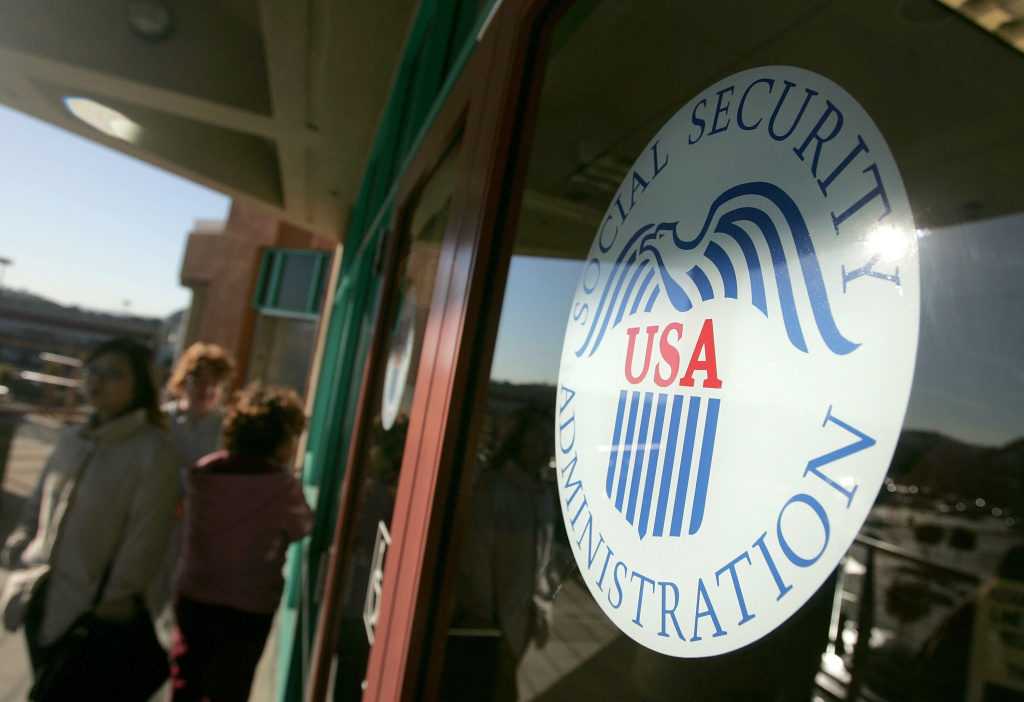 People line up outside of the Social Security Administration office Feb. 2, 2005 in San Francisco, California.