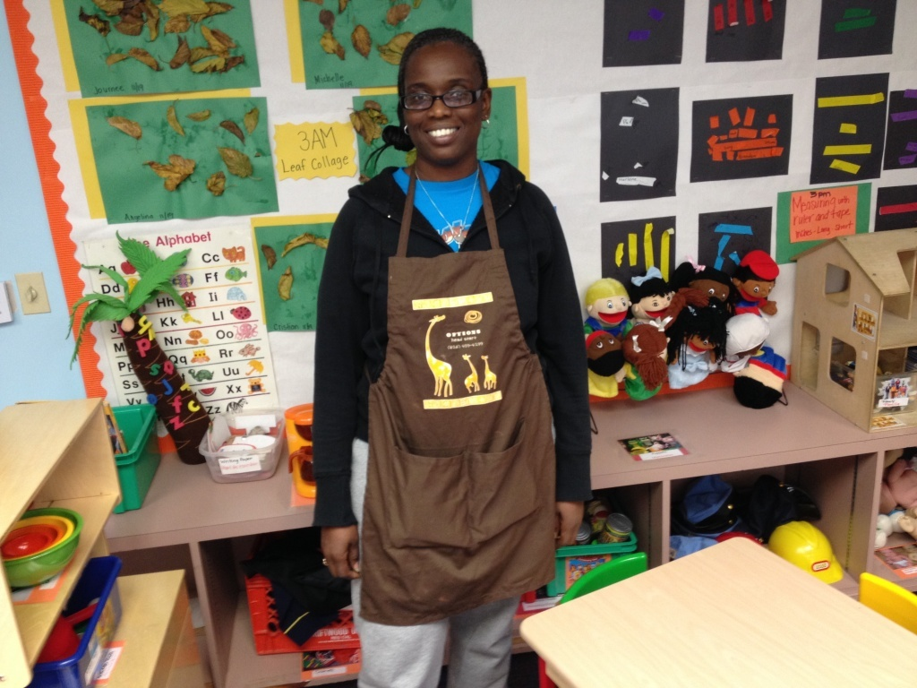 Lawana Nelson teaches in the Options Head Start program in Pasadena. She wears an apron with pockets so she can keeps paper to make notes about her students progress and challenges. It's part of the on-going observational method Options teachers use to assess student growth and development.