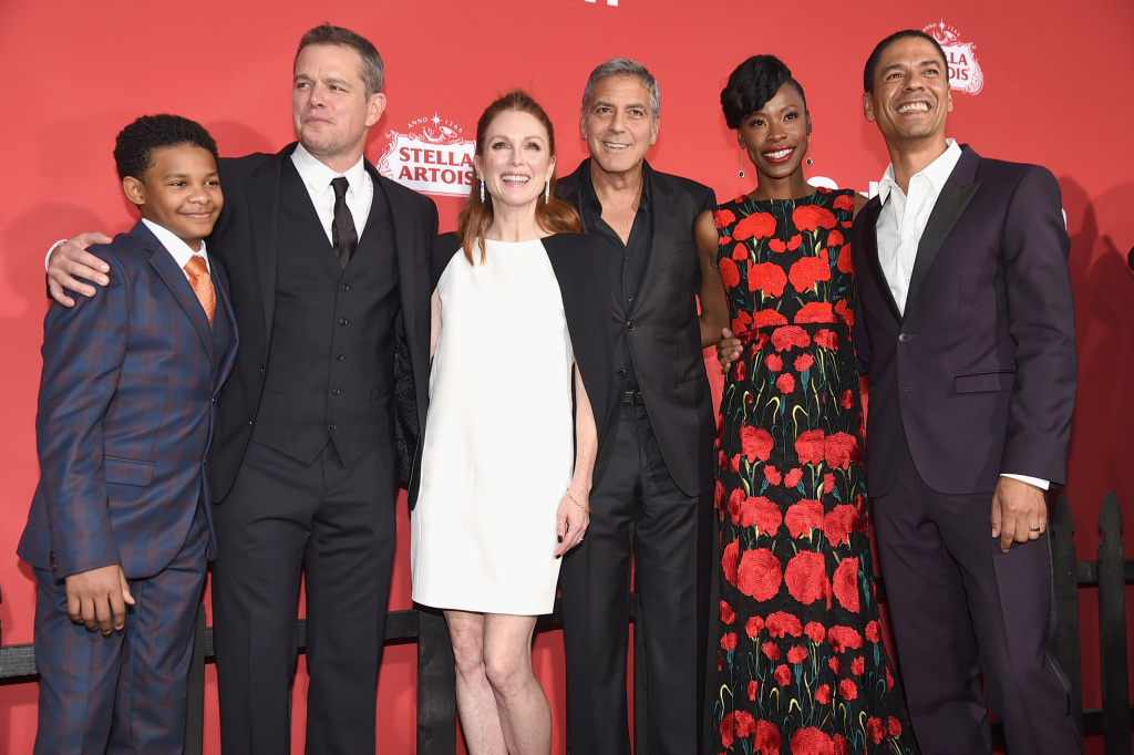 Tony Espinosa, Matt Damon, Julianne Moore, George Clooney, Karimah Westbrook and Leith M. Burke at the Premiere of Paramount Pictures'