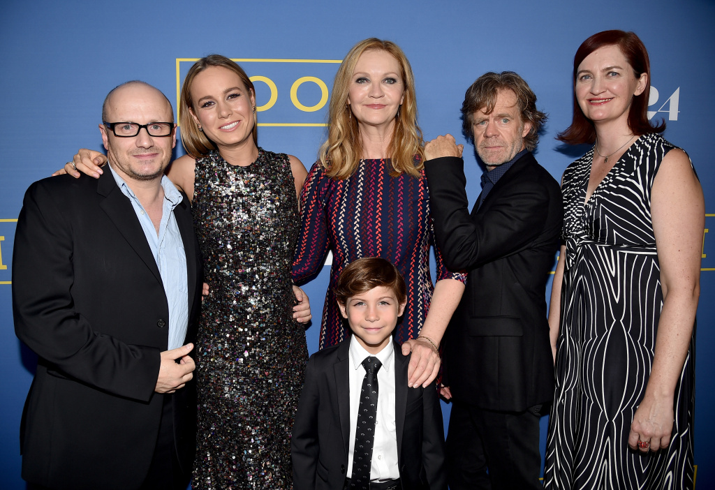 (L-R) Director Lenny Abrahamson, actress Brie Larson, actor Jacob Tremblay, actress Joan Allen, actor William H. Macy and writer Emma Donoghue arrive at the premiere of A24's