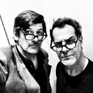 "Off-Ramp host John Rabe and actor Josh Stamberg in a totally candid shot as Stamberg - son of NPR's Susan Stamberg - rehearsed the LA Theatre Works production of David Mamet's ""American Buffalo."""