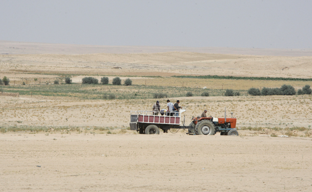Farmers ride in their tractor in the drought-hit region of Hasaka in northeastern Syria on June 17, 2010. The United Nations World Food Programme (WFP) has started distributions of emergency food assistance to almost 200,000 drought-affected people in Syria.