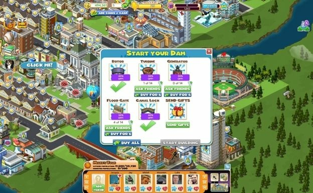A screenshot of a player's Farmville game. Farmville was created by the online game company Zynga.