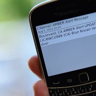 A cellphone displays the Amber Alert issued late on August 5, 2013 in Los Angeles, California, which marked the first time officials have notified the public of a statewide Amber Alert through their cellphones.