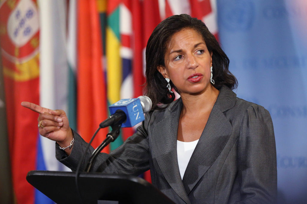 U.S. Ambassador to the United Nations Susan Rice speaks to the media after a U.N. Security Council meeting on Syria on May 30, 2012 in New York City.  The Security Council held discussions following a massacre of more than 100 civilians in Houla.