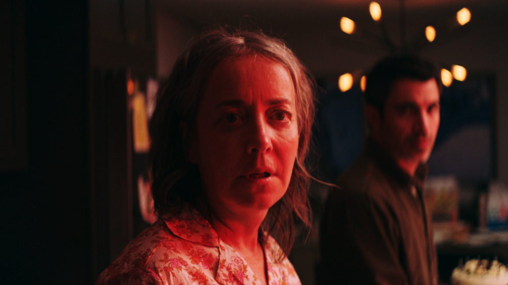Jane (Jane Adams) and Jason (Chris Messina) get caught up in a viral outbreak of fatalism in <em>She Dies Tomorrow</em>.