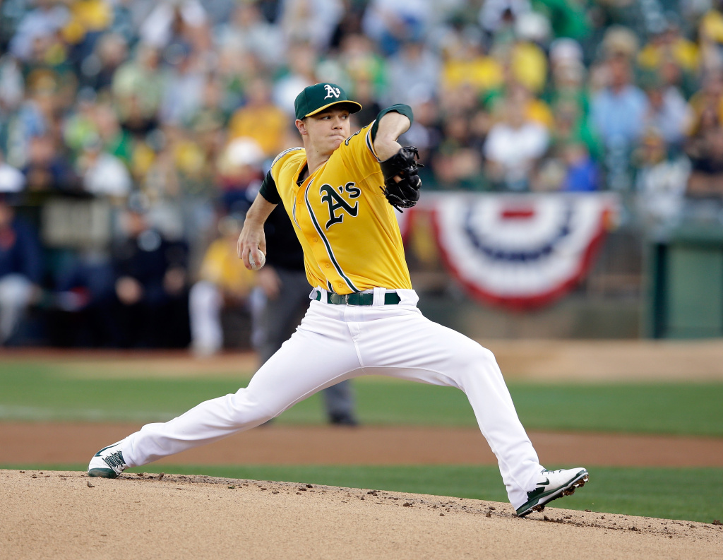 Sonny Gray #54 of the Oakland Athletics pitches against the Detroit Tigers at O.co Coliseum on October 10, 2013 in Oakland, California.
