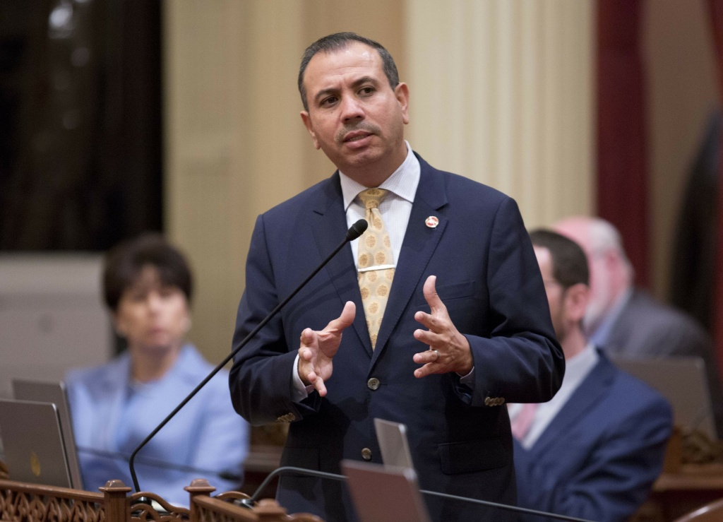 California state Sen. Tony Mendoza, D-Artesia, announces that he will take a month-long leave of absence while an investigation into sexual misconduct allegations against him are completed during the opening day of the Senate in Sacramento, Wednesday, Jan. 3, 2018.