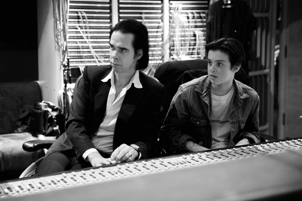 """Nick Cave and his son, Earl, during the """"Skeleton Tree"""" recording sessions."""