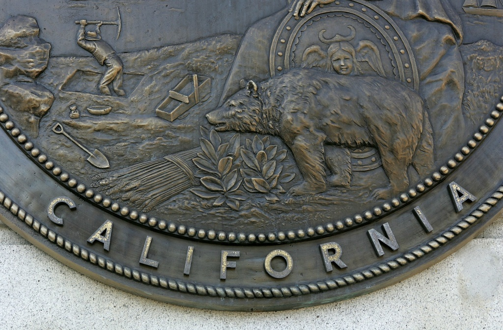 A section of the California seal hangs on the front of the State of California Earl Warren building January 22, 2007 in San Francisco, California.