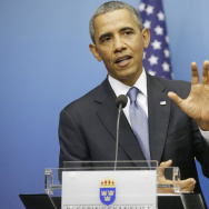 President Obama gestures during his joint news conference with Swedish Prime Minister Fredrik Reinfeldt on Wednesday in Stockholm. The president said the credibility of the international community, Congress and America is on the line with the response to