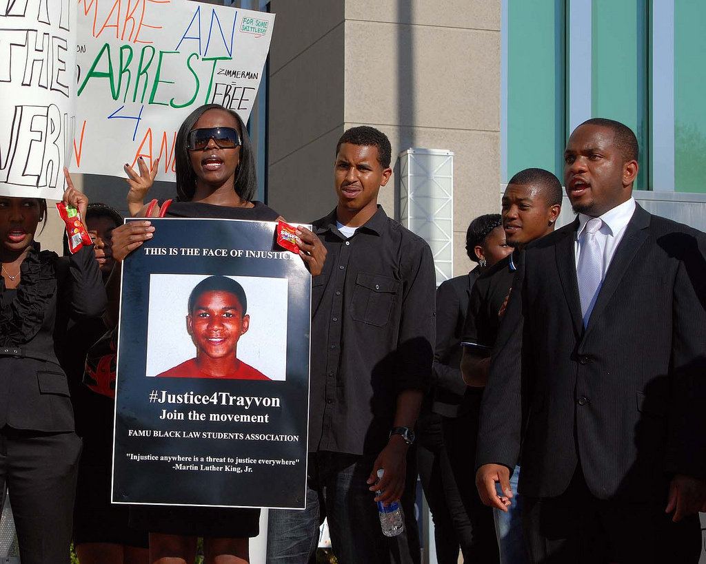 Protestors make a call for justice in the case of Trayvon Martin in Sanford, Florida.