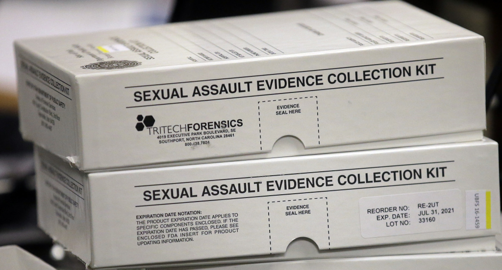 This Feb. 8, 2017, photo, sexual assault evidence collection kit are shown during committee meeting at the Utah State Capitol, in Salt Lake City. Utah crime lab officials are feeling optimistic as they work to speed up the time it takes to process sexual assault evidence kits, after lawmakers approved a measure last month that sends more than $1 million to go toward this effort.