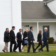 US President-elect Donald Trump(R) and Vice President-elect Mike Pence(2nd-R) leave the Lamington Presbyterian Church after Sunday services in Bedminster, New Jersey November 20, 2016.