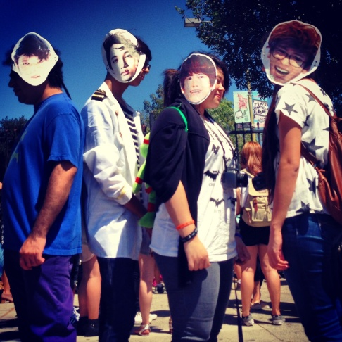 Four friends disguised as KPop stars EXO and Kyuhyun.