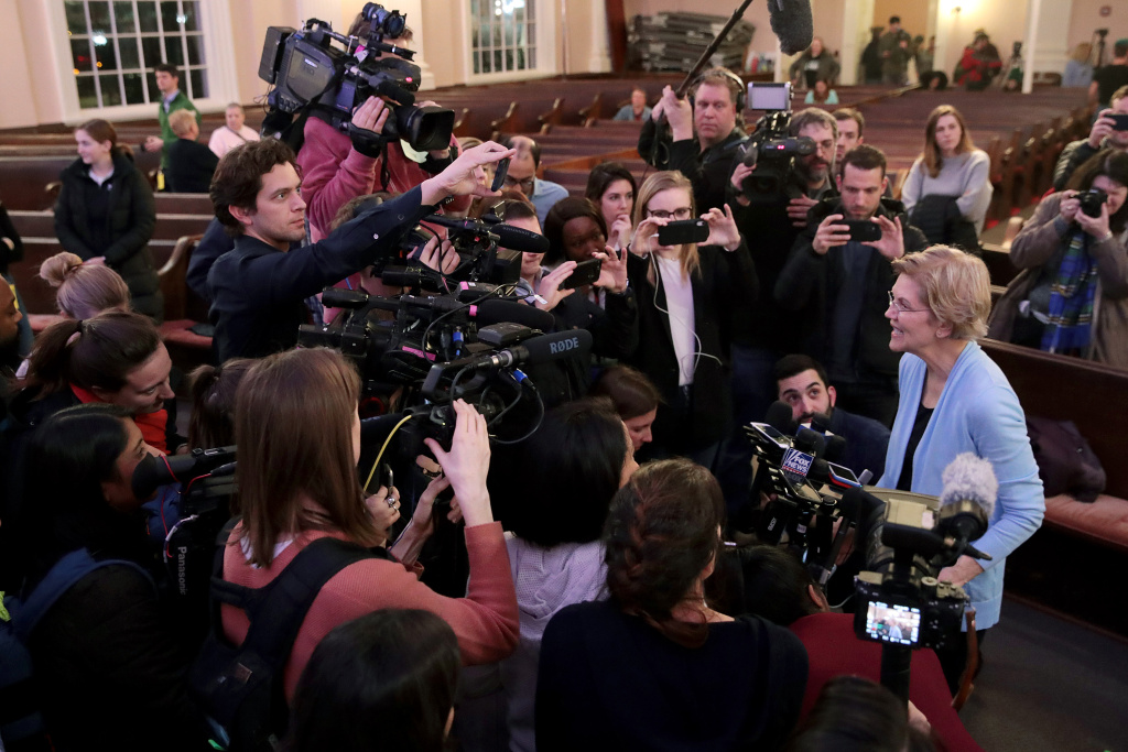 Democratic presidential candidate Sen. Elizabeth Warren speaks to the press following a town hall at South Church on February 10, 2020 in Portsmouth, New Hampshire.