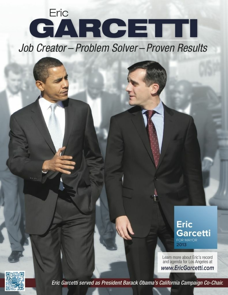 A Garcetti campaign mailer targeting African-American voters shows the mayoral campaign with the president. Garcetti served as chairman of then-candidate Obama's California campaign in 2008