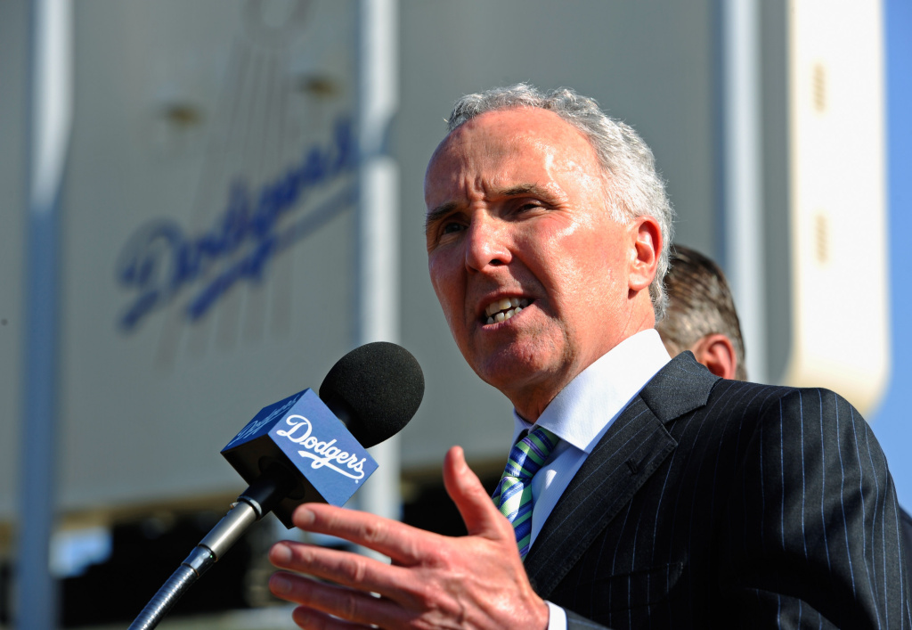 Frank McCourt speaks outside of Dodgers Stadium.