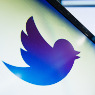 The Twitter logo is displayed on a computer screen.