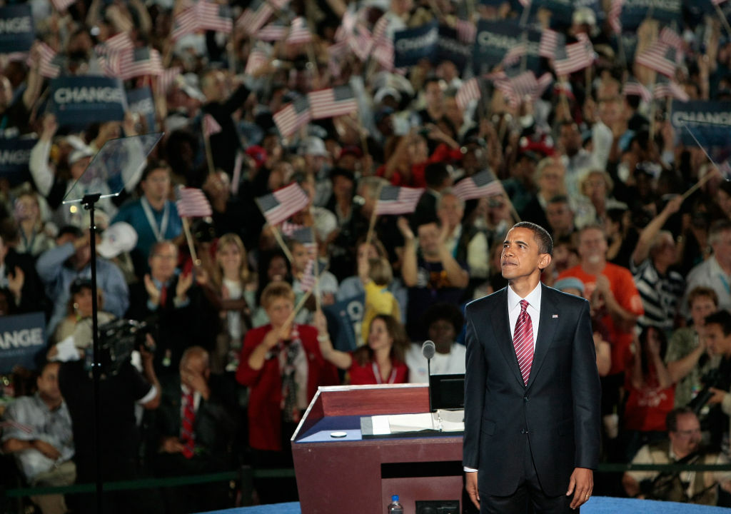 Then-Sen. Barack Obama (D-IL) reacts to the crowd on day four of the 2008 Democratic National Convention (DNC) at Invesco Field at Mile High Aug. 28, 2008 in Denver, Colorado.