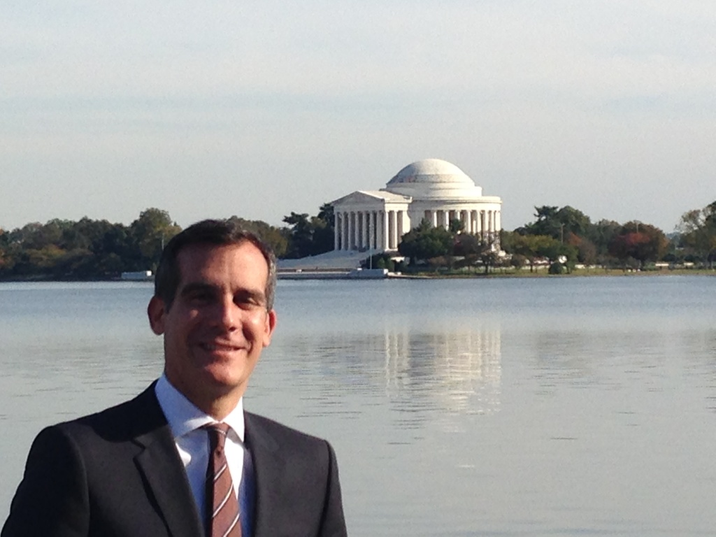 LA Mayor Eric Garcetti will be in Washington Friday for a meeting at the White House with other U.S. mayors.