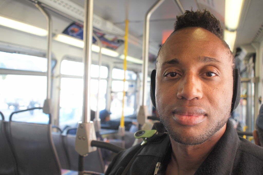 Homeless advocate Troy Erik Isaac on a bus in Downtown Los Angeles