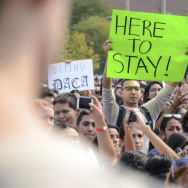 Demonstrators on the campus of Metropolitan State University in Denver protest President Trump's decision to end the DACA program.