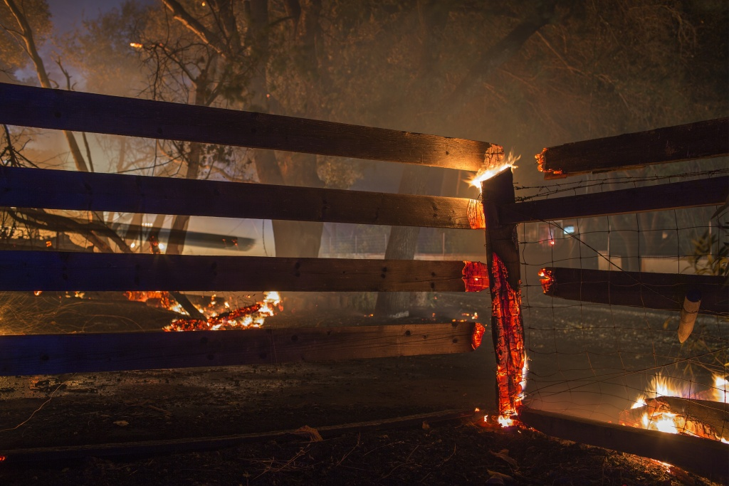 Property burns in the early morning hours on October 14, 2017 in Sonoma, California.