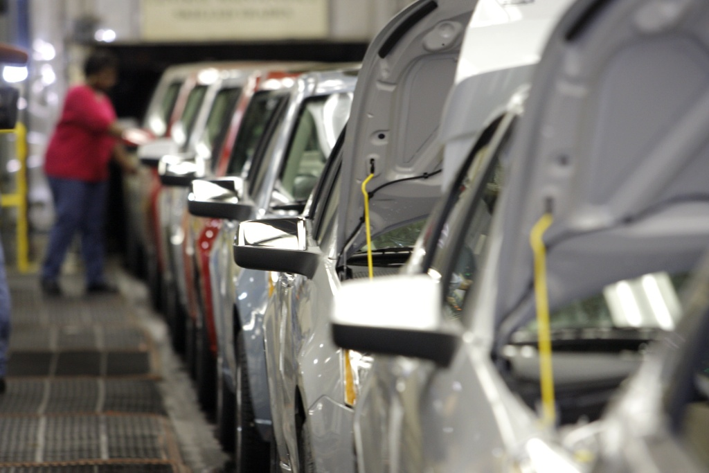 The 2008 Ford Focus goes through final assembly after the launch of the car at the Wayne Stamping and Assembly Plant Oct. 15, 2007 in Wayne, Michigan.