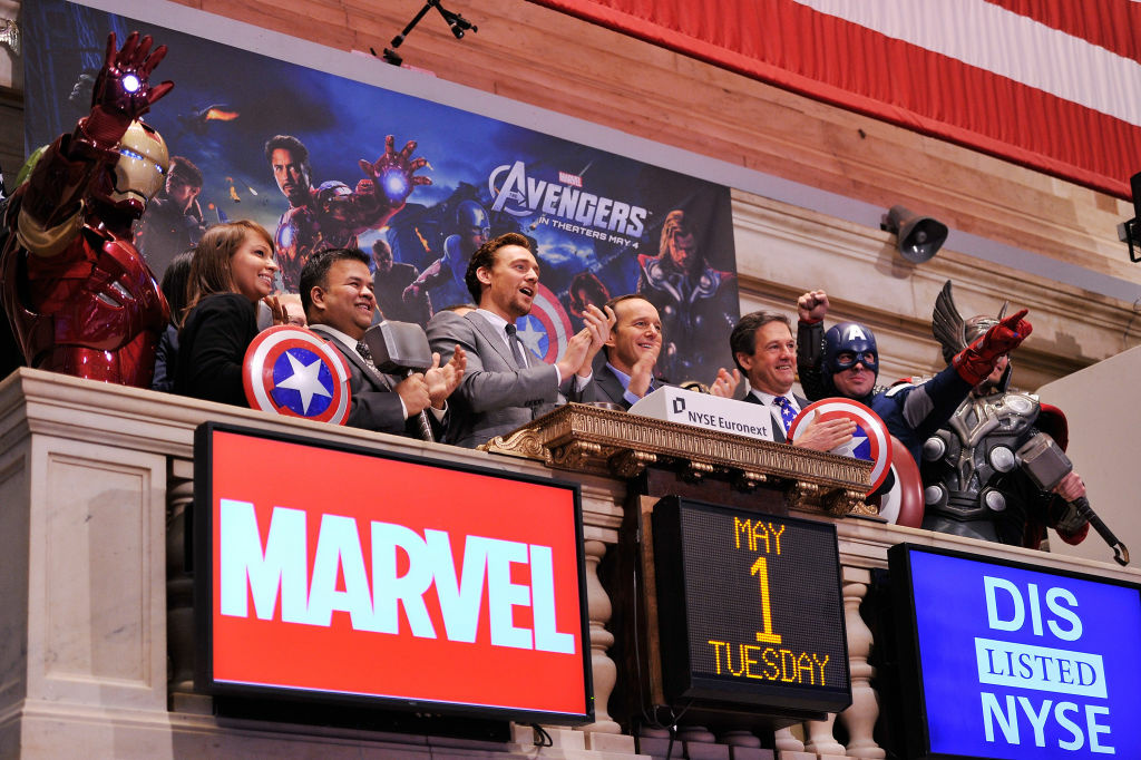 Ringing the opening bell at The New York Stock Exchange as part of a celebration of the release of Marvel Studios