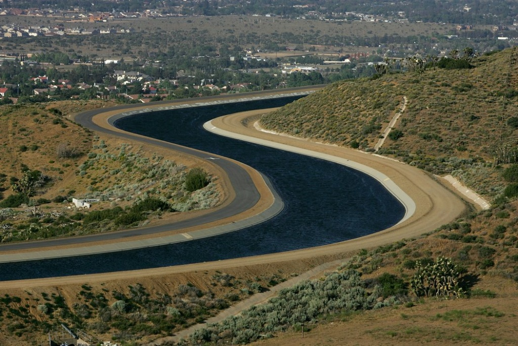 The California Aqueduct carries water from the Sierra Nevada Mountains to Southern California as urgent calls for California residents to conserve water grow.