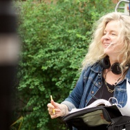 "Filmmaker Patricia Rozema on the set of her new movie, ""Into the Forest."""