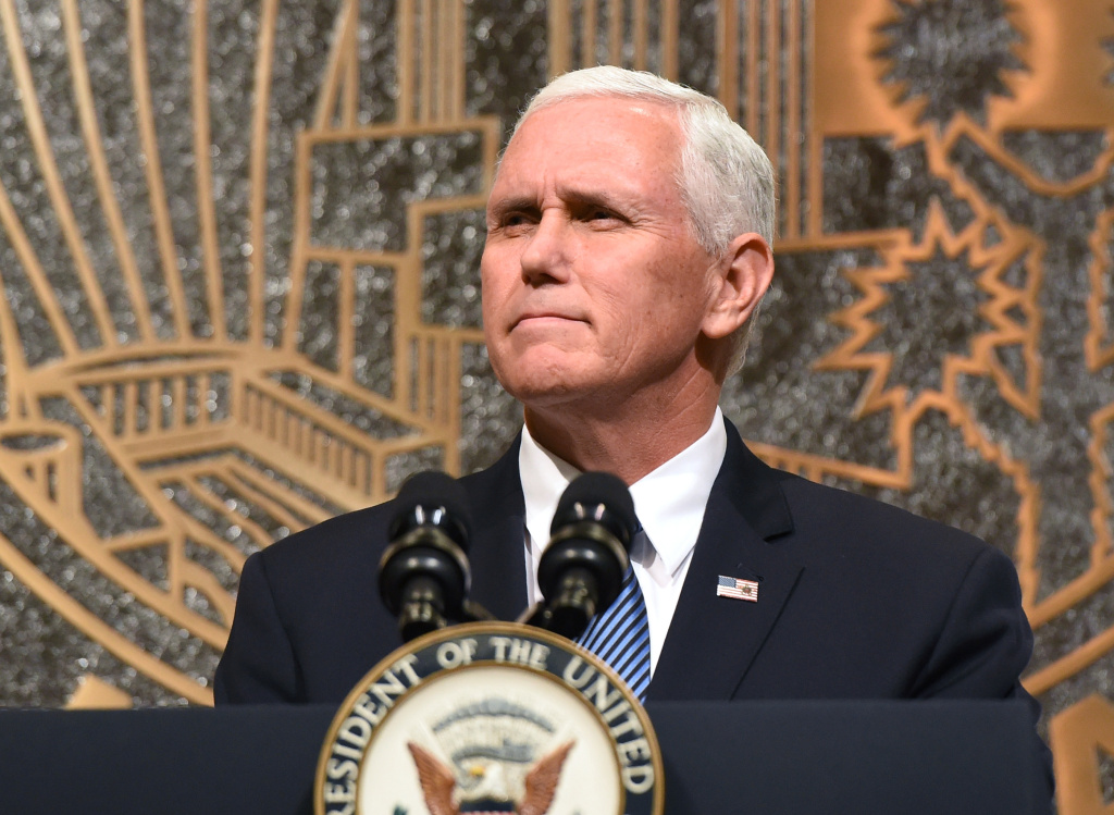 U.S. Vice President Mike Pence speaks at the culmination of a faith unity walk, held to help the community heal after Sunday's mass shooting, at Las Vegas City Hall on October 7, 2017 in Las Vegas, Nevada. He is currently on a three-day tour of California.