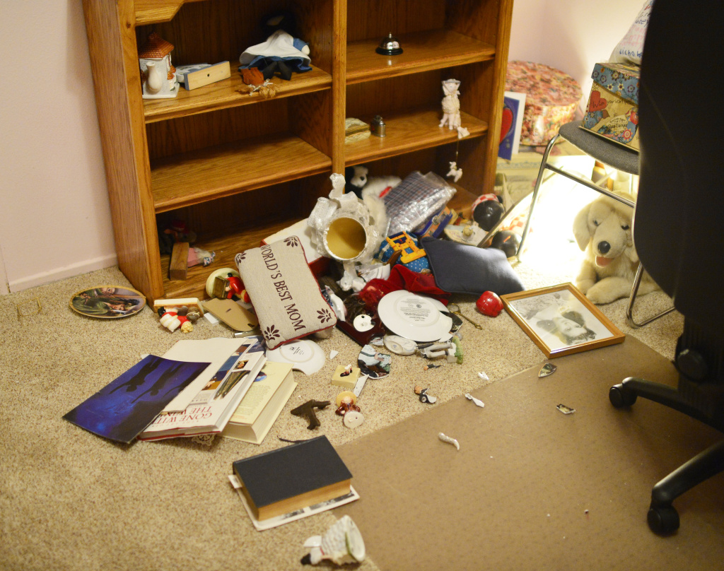 Items that fell of a shelf in the Bingham home in Fullerton Friday evening near the intersection of N Gilbert St and Rosecrans on March 28, 2014.