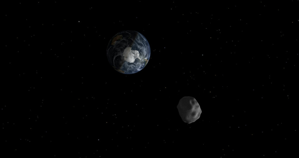 An image showing how 2012 DA14 asteroid will safely fly by Earth on Feb. 15, 2013.