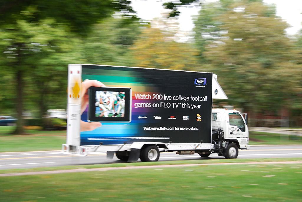 A mobile billboard for Flo TV.