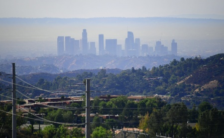 A layer of pollution can be seen hovering over Los Angeles, California on October 17, 2017, where even though air quality has improved in recent decades, smog levels remain among the nations's worst, with wildfires in the region also contributing to poor air quality.